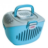 "Living World Paws2Go Small Pet Carrier - Grey/Blue - 36 cm L x 28 cm W x 25 cm H (14"" x 11"" x 9.8"")"